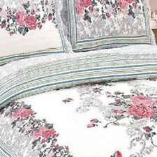 Cotton Coverlet Quilted Bedspread Set Floral Queen King Size Bed Pillowcases New