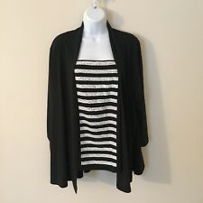 Bob Mackie 2X Drape Front Cardigan w/ Sequin Striped Tank Set Black Wearable Art