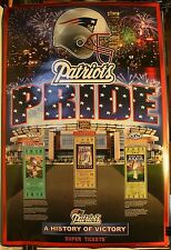 """New England Patriots Pride History of Victory Super Tickets 36 x 24"""" Poster"""