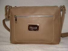 Faux Leather Zip Top Shoulder Across Body Messenger Bag Handbag Soft Brown