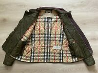 Burberry Brit Nova Check Quilted Jacket Coat Military Khaki Green - Large (L)