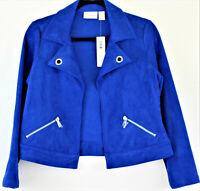 NWT Chico's Women's Royal Blue Faux Suede Career Blazer Jacket Sz 0 Petite