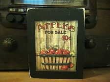 Apples For Sale Country Primitive Rustic Wooden Block Shelf Sitter 3.5X4.5