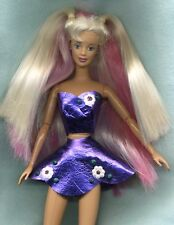 BARBIE DOLL W/ CLOTHES & COLORED HAIR A OOAK DRESS W/ PANTIES & GOLD SANDALS