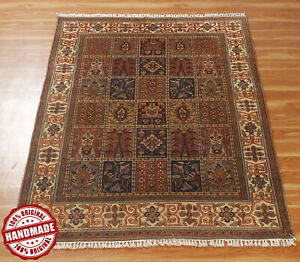 Geometric Rug 4X6 Ft Hand Knotted Carpet Red 'Kshinam' Handmade Wool Area Rugs