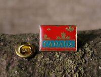 Canada Red Maple Leaf Gold Tone Metal & Enamel Lapel Pin Pinback