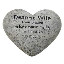In Loving Memory Graveside Heart Plaque Stone - Dearest Wife Grave Memorial