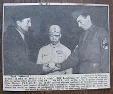 Paul Waner, James Mullin, Pvt. Shiah (Chinese) 1944 original newspaper clipping