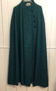 Vtg Jimmy Hourihan Ireland Women's M Green Tweed Long Wool Walking Cape Cloak