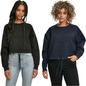 Urban Classics Ladies Oversized Short Raglan Crew Hoody Pullover Schnürung Pulli