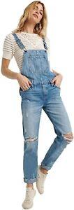 Lucky Brand Womens Ontario Blue Cut Hem Boyfriend Overalls Jeans Sz L 6403-7M