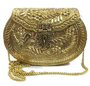 Gold Metal clutch Vintage clutch  Handmade Brass bag metal purse carving wallet