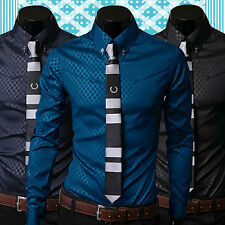 Men Cool Argyle Luxury Business Style Slim Fit Long Sleeve Casual Dress Shirt