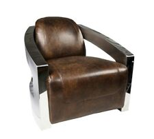 Aviator Style Armchair In Leather Vintage Leather Armchair Accent Chair Chrome