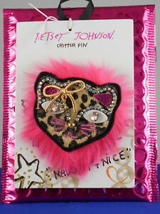 Betsey Johnson HOLIDAY GIVING Black Leopard Print Sparkle Cat Pin Brooch $25