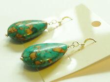 Turquoise Hook Pear Costume Earrings