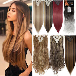 100% Real Natural Clip in Hair Extensions Full Head 8 Piece Set Long as Human UK