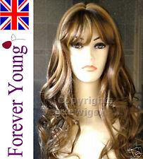 Amazing Ladies Long Wig Choc Brown Honey Blonde Fashion Wig Vogue Wig UK