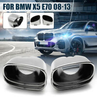 2Pcs 63mm Car Exhaust Muffler Tail Pipe Tip Trim For BMW E70 X5 Stainless Steel