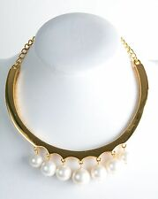 Kenneth Jay Lane Polished Gold White Shell Pearl Drops Bib Necklace 4118ngwp