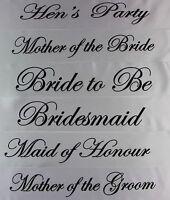 HENS NIGHT PARTY BRIDAL SASH BRIDE BRIDESMAID MAID OF HONOUR - WHITE + BLACK
