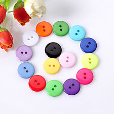 100Pcs DIY 2 Holes Round Resin Buttons Scrapbooking Sewing Craft 10MM Multicolor