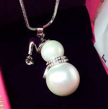 Women Sexy Big Snowman Pendant Long Necklace White Gold/Silver Plated Chain