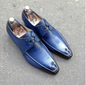 Mens Handmade Shoes Blue Leather Derby Lace Up Formal Dress Casual Wear Boots