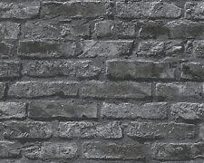 Papier Tapete DEKORA NATUR 6 AS 95470-1 Steinmauer Stein Optik Grau Schwarz