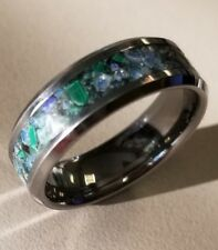 Malachite Obsidian and opalite tungsten glow ring