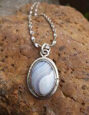 Sterling Silver Vtg Bezel Set Blue Lace Agate Oval Pendant 16 inch Necklace