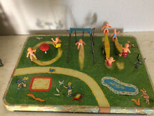 Working Vintage Lee Toys Tin Mechanical Playground w/ Original Box and 7 Babies