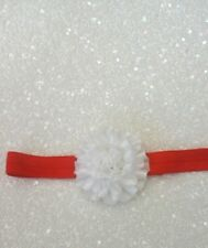 Babies red  Headband with a white ruffled flower newborn