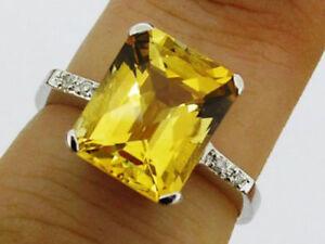 R226 Genuine 9ct, 10K, 14K, 18K Gold Natural Citrine Diamond Solitaire Ring