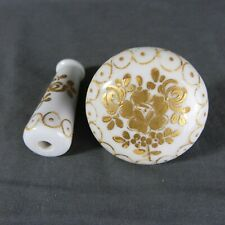 Vintage French Porcelain Door Knobs Lever Handles Gold Porcelain of Paris