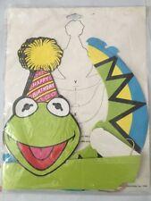 Vintage Lot 4 New Kermit Frog Sun Visor Birthday Party Hats Jim Henson Muppets
