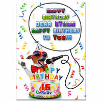 c063; Large Personalised Birthday card; Custom made for any name; FUNNY RUSSELL