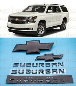 2015-2020 Chevrolet Suburban Black Bowtie Door Tailgate Emblems Front & Rear