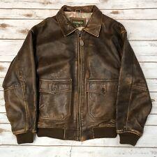Vintage 90s Outback Red Men's Medium Leather Jacket Classic Pilot Bomber Aviator