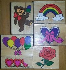 Lot of 6 Rubber Stamps Rose Rainbow Hearts Teddy Bear Balloons