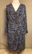 London Times Woman Plus Size 18W Blue/Beige Wrap Dress Long Bell Sleeves New $80