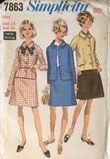 "Vintage Simplicity Sewing Pattern 7863 Misses Skirt & Jacket Sz 14 36"" 92cm Bust"