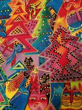 Laurel Burch Holiday Collection Fabric Cats in Trees Bright 2004 HTF 7/8 yd