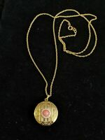 Vintage Avon Gold Tone Faux Pearl Pink Coral Cabochon Round Locket Pendant