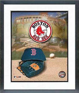 "Boston Red Sox Baseball Hat & Glove Logo Photo (Size: 12.5"" x 15.5"") Framed"