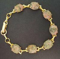 Vintage EPIDOTE SCARAB BRACELET Egyptian Revival Jewelry