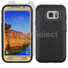 Hybrid Rubber Case+Lcd Screen Protector for Phone Samsung Galaxy S7 Active Black