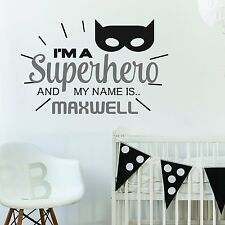 PERSONALISED SUPERHERO BATMAN CHILDREN'S KIDS BEDROOM WALL STICKER VINYL MURAL