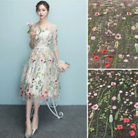 1*Floral Embroidery Lace Trim Fabric Tulle Mesh Craft Sewing Bridal Dress
