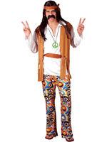 Adult Mens Woodstock Hippie Fancy Dress Costume 60s 70s Hippy Flower Outfit S-XL